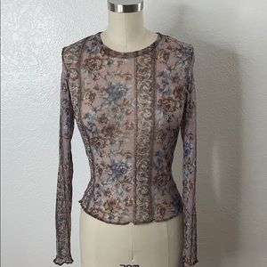 Vintage floral mesh print long sleeve 90s top S